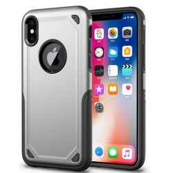 Coque hybride antichoc iPhone XR Argent