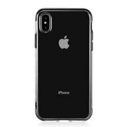 Coque silicone transparente New electro iPhone XS Max noir