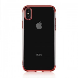 Coque silicone transparente New electro iPhone XS Max Rouge